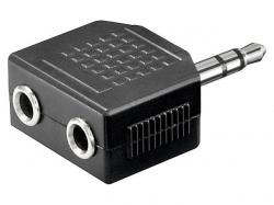 Adaptor audio 3.5mm Jack stereo tata la 2 x 3.5mm Jack stereo mama AA082-BU