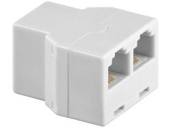Adaptor modular 6P4C RJ11 mama la 2 x RJ11 mama, alb F-FF-WE-BU