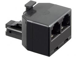 Adaptor modular 6P4C RJ11 tata la 2 x RJ11 mama, negru M-FF-BK-BU