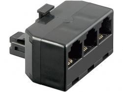 Adaptor modular 6P4C RJ11 tata la 3 x RJ11 mama, negru M-FFF-BK-BU
