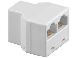 Adaptor UTP, ISDN 8P8C RJ45 mama la 2 x RJ45 mama, alb F-FF-WE-BU