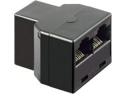 Adaptor UTP, ISDN 8P8C RJ45 mama la 2 x RJ45 mama, negru F-FF-BK-BU