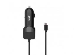 Alimentator USB bricheta auto cu cablu microUSB 2 iesiri 2.4A negru Well ; Cod EAN: 5948636031171