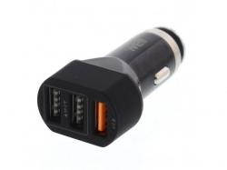 Alimentator USB bricheta auto QuickCharge 3 iesiri 28W negru Well ; Cod EAN: 5948636031218