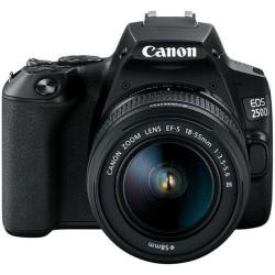 Aparat foto DSLR Canon EOS 250D, 24.2MP, Black + Obiectiv EF-S 18-55mm DC Black