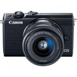 Aparat foto Mirrorless Canon EOS M100, 24.2MP, Black + Obiectiv EF-S 15-45 IS STM + Obiectiv EF-M 15-200 IS STM