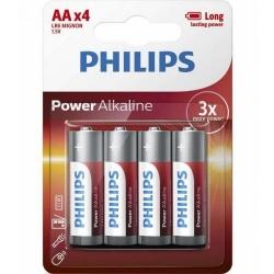 Baterii Philips Power Alkaline, 4x AA/LR6, Blister