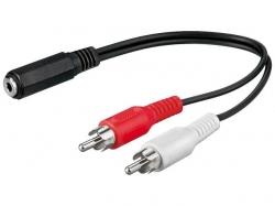 Cablu audio 0.2m 3.5mm Jack stereo mama la 2 x RCA tata