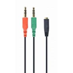 Cablu audio Startech CCA-418, 2x 3.5 mm jack male - 1x 3.5mm jack female, 0.2m, Black