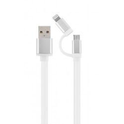 Cablu de date Gembird CC-USB2-AM8PmB-1M-SV, USB - micro USB + Lightning, 1m, White-Silver