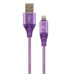 Cablu de date Gembird Premium Cotton Braided, USB - Lightning, 2m, Purple-White