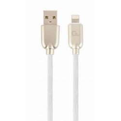 Cablu de date Gembird Premium rubber, USB 2.0 - Lightning, 1m, White-Gold