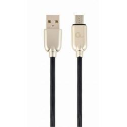 Cablu de date Gembird Premium Rubber, USB - micro USB, 1m, Black