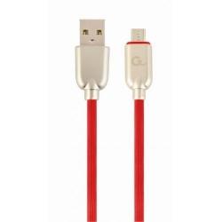 Cablu de date Gembird Premium Rubber, USB - micro USB, 1m, Red