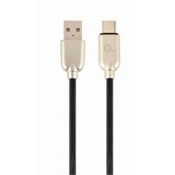 Cablu de date Gembird Premium Rubber, USB - USB-C, 1m, Black