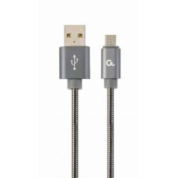 Cablu de date Gembird Premium Spiral Metal, USB - micro USB, 1m, Grey