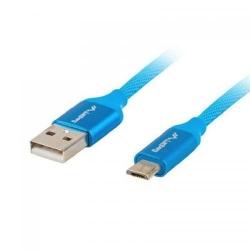 Cablu de date Lanberg Premium Quick Charge, USB - Micro USB, 0.5m, Blue