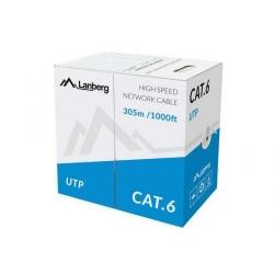 Cablu retea Lanberg UTP, CCA, Cat.6, 305m, Grey