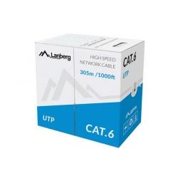 Cablu retea Lanberg UTP, CU, cat. 5e, 305m, gray