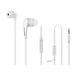 Casti cu microfon Qoltec 50803, Cablu plat 1.2m, White