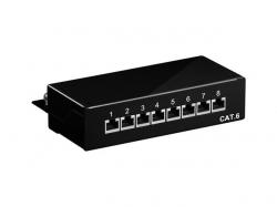 CAT 6 Mini/Desktop Patch Panel, 8 Port, black - STP shielded, black