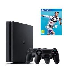 Consola Sony PlayStation 4 Slim 500GB Black + Joc FIFA 19 + 2 x Controller DualShock 4 Wireless