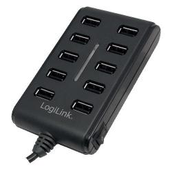 Hub USB 2.0 Logilink UA0125 Black, 10 porturi