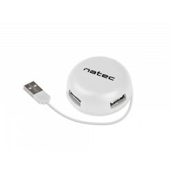 Hub USB Natec Bumblebee, 4x USB 2.0, White