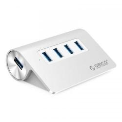 Hub USB Orico M3H4 PRO Aluminium, 4x USB 3.0, Silver