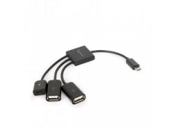 Hub USB UHB-OTG-02, microUSB OTG male - 2x USB female + microUSB female, Black