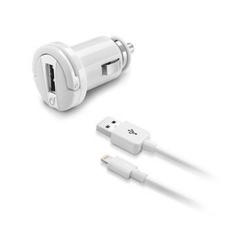 Incarcator auto Cellular Line, 1x USB + cablu 1x Lightning, 1A, White