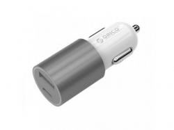 Incarcator auto Orico, 1x USB + 1x USB-C, 1A, Silver