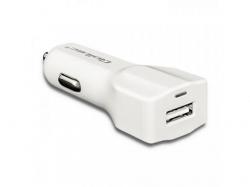 Incarcator auto Qoltec 50128, 1x USB, 2.4A, White