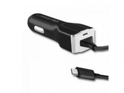 Incarcator auto Qoltec 50138, 1x Micro USB, 2.4A, Black-Silver