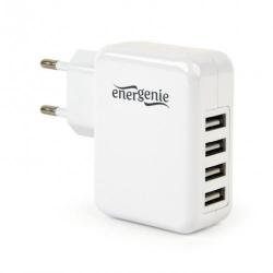 Incarcator retea Energenie by Gembird EG-U4AC-02, 4x USB, 3.1A, White