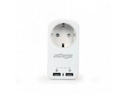 Incarcator retea Gembird, 1x Schuko + 2x USB, 2.1A, White