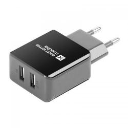 Incarcator retea Natec NUC-0995, 2x USB, 2.1A, Black-Grey