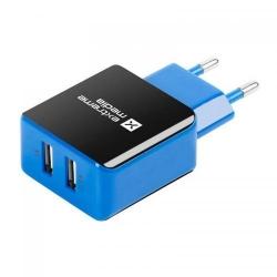 Incarcator retea Natec NUC-0997, 2x USB, 2.1A, Black-Blue
