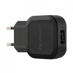 Incarcator retea Qoltec, 1x USB + cablu microUSB, 2.4A, Black