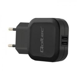 Incarcator retea Qoltec, 2x USB, 2.4A, Black