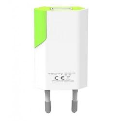 Incarcator retea Techly 100044, 1x USB, 1A, White-Green