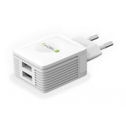 Incarcator retea Techly 102932, 2x USB, 2.1A, White