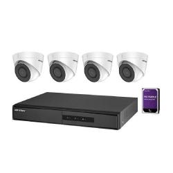 Kit Camere de supraveghere NVR Hikvision DS-7104NI-Q1/4P/M + 4 Camere IP Turret DS-2CD1323G0E-I + 1 HDD WD