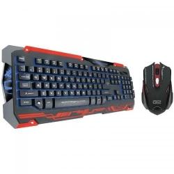 Kit Dragon War Sencaic - Tastatura, RGB LED, USB, Black + Mouse Laser, USB, Black