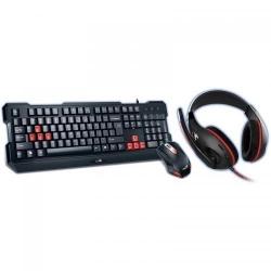 Kit Genius GX KMH-200 - Tastatura, USB, Black-Red + Mouse Optic, USB, Black-Red + Casti Stereo, jack, Black-Red