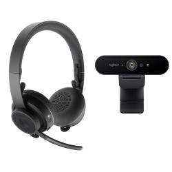 Kit Logitech Pro Personal - Camera Web Brio 4K + Casti bluetooth Zone Wireless