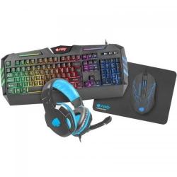 Kit Natec Fury Thunderstreak 2.0 - Tastatura, RGB LED, USB, Black + Mouse Optic, Blue LED, USB, Black + Casti Stereo, 2x 3.5mm jack, Black + Mouse Pad, Black