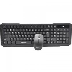 Kit Wireless LogiStep LSDK-0011, Tastatura, USB, Black + Mouse Optic, USB, Black