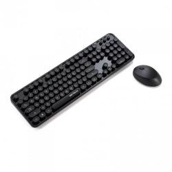 Kit Wireless Serioux Retro Dark 9900BK - Tastatura, USB, Black + Mouse Optic, USB Wireless, Black