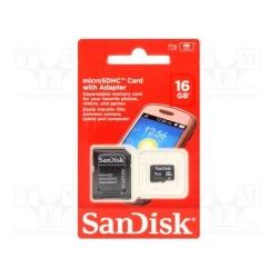 Memory Card SanDisk microSDHC 16GB + adaptor SD